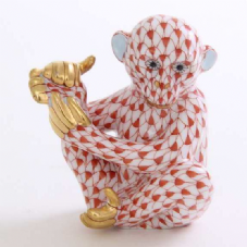 Herend Porcelain Fishnet Figurine of a Baby Chimpanzee